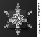 black gift box. on a silver... | Shutterstock .eps vector #1777047797