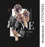 love slogan with antique statue ... | Shutterstock .eps vector #1777174331