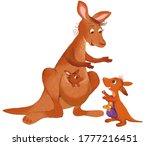 illustration funny kangaroo and ... | Shutterstock . vector #1777216451