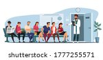 queue people sitting on blue... | Shutterstock .eps vector #1777255571