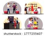 shoe store scenes set. man buys ... | Shutterstock .eps vector #1777255607
