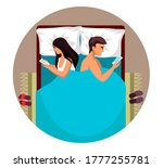 vector wife and husband lying...   Shutterstock .eps vector #1777255781