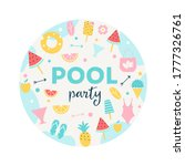 summer pool or beach party... | Shutterstock .eps vector #1777326761