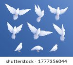 White Pigeons Doves Set With...