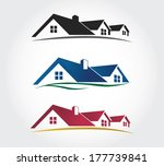 Home Design Icons Set , roof Vector set - stock vector