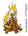 Llama de fuego de la fogata con leña. Eps10 ilustración vectorial. Aislado sobre fondo blanco