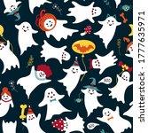 cute ghost pattern. seamless...   Shutterstock .eps vector #1777635971