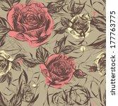 rose garden   vintage seamless... | Shutterstock .eps vector #177763775