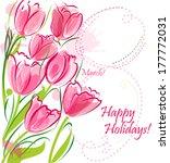 tulips background in watercolor ... | Shutterstock .eps vector #177772031