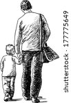 man with little son | Shutterstock .eps vector #177775649