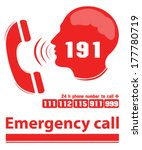 emergency call red color | Shutterstock .eps vector #177780719