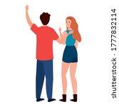 woman and man avatar backwards... | Shutterstock .eps vector #1777832114