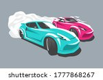 two paired drifting sport cars...   Shutterstock .eps vector #1777868267