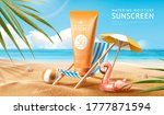 sunscreen ad template with palm ... | Shutterstock .eps vector #1777871594