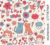 colorful romantic seamless...   Shutterstock . vector #177787469
