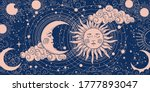 Magic banner for astrology, divination, magic. The device of the universe, crescent moon and sun with moon on a blue background. Esoteric vector illustration, pattern