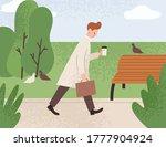 tired sleepy man holding paper...   Shutterstock .eps vector #1777904924
