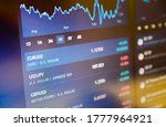 Currency pairs on stock market or forex trading platform. Euro / dollar on stock market or forex trading platform.