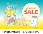 summer sale banner with... | Shutterstock . vector #1778016197