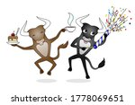 two cheerful bulls jumping on a ... | Shutterstock .eps vector #1778069651