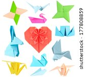 collage of different origami... | Shutterstock . vector #177808859