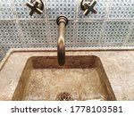 Stone Wash Basin With Brass...