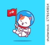Cute Cat Astronaut Holding Fla...