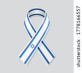 israeli flag stripe ribbon on... | Shutterstock .eps vector #1778166557