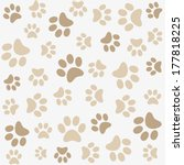 Seamless Animal Pattern Of Paw...