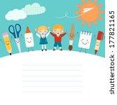 schoolboy  schoolgirl and funny ...   Shutterstock .eps vector #177821165