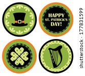 argyle,badge,celebration,celtic,circle,clip-art,clover,day,decorative,design,four-leaf,green,happy,harp,hat
