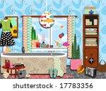 abstract graphic retro bathroom | Shutterstock . vector #17783356