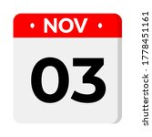 november 03 flat calender icon... | Shutterstock .eps vector #1778451161