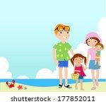 family on beach | Shutterstock .eps vector #177852011