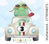 cute dinosaur riding a racing... | Shutterstock .eps vector #1778548271