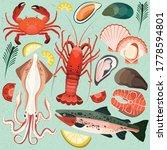 seafood dish salmon fish crab... | Shutterstock .eps vector #1778594801
