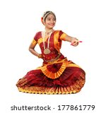 Small photo of Indian female performing Bharathanatyam doing the action of hasya / laughter or mirth
