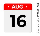 august 16 calendar icon with...   Shutterstock .eps vector #1778621504