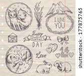 hand drawn vintage set... | Shutterstock .eps vector #177875765