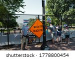 Small photo of Washington, DC – July 18, 2020: Black Lives Matter protest posters and signs on the hastily constructed fence at Lafayette Park that now blocks access to the White House.