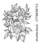 tattoo branch of flowers.... | Shutterstock . vector #1778858711