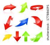 arrow icon set.raster copy. | Shutterstock . vector #177886091