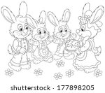 bunnies with an easter cake | Shutterstock .eps vector #177898205