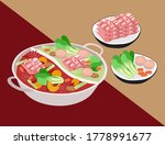 asia food two flavors hot pot | Shutterstock .eps vector #1778991677