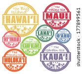 Grunge rubber stamp with palms and the Hawaii islands names inside, vector illustration