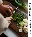 Chopping Leeks On Wooden...