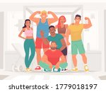 team of sports happy men and... | Shutterstock .eps vector #1779018197