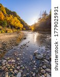Arrow River near Arrowtown in New Zealand on gloriously beautiful autumn morning