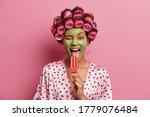 Funny Joyful Housewife Licks...