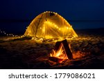The Fire At Night On The Beach. ...